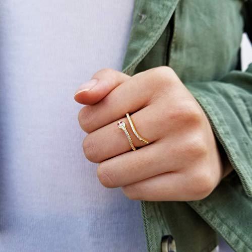 Snake Ring, Serpent Ring, Cubic Gold Ring, Dainty Gold Ring, Minimalist Ring, Minimal Gold Ring, Stacking Ring, Open Ring, MACI RING