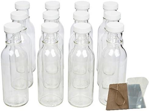 Protector de Boca Ancha Botellas de cristal para bebidas, decoraciones de salsa y con tapas, seguridad Shrink Wrap juntas y etiquetas, 12 oz, 12 unidades)
