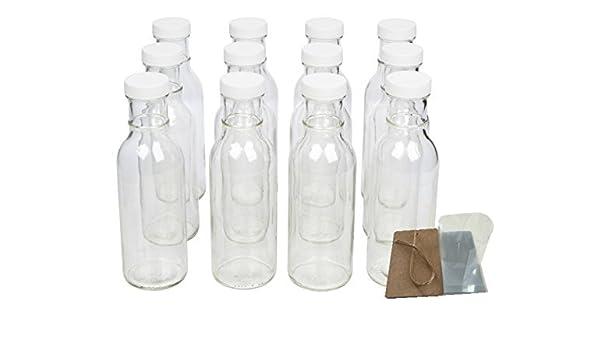 Protector de Boca Ancha Botellas de cristal para bebidas, decoraciones de salsa y con tapas, seguridad Shrink Wrap juntas y etiquetas, 12 oz, 12 unidades): ...