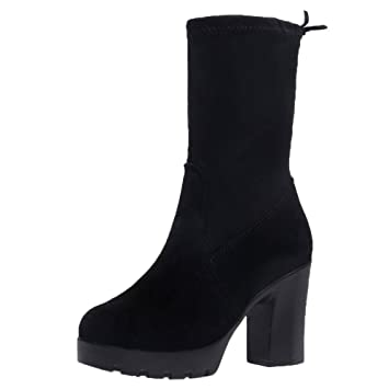 9f551b2e487 Fiaya Women s Mid Calf Suede Boots Sexy Platform Chunky High Heel Lace up  Thin Elastic Ankle