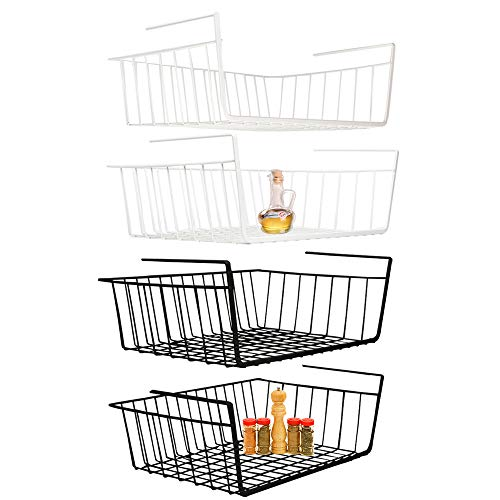Under Shelf Basket, 4 Pack White Black Wire Rack, Slides Under Shelves for Storage Space on Kitchen Pantry Desk Bookshelf Cupboard