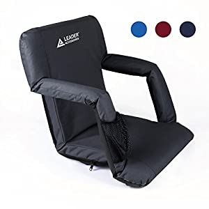 Leader Accessories Stadium Seat Cozy Portable Reclining Seat Folding Bleacher or Benche Chair with Arm rest from Leader Accessories