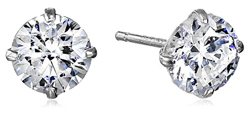 10K White Gold Stud Earring set with Round Cut Swarovski Zirconia (1 cttw) 10k Gold Set