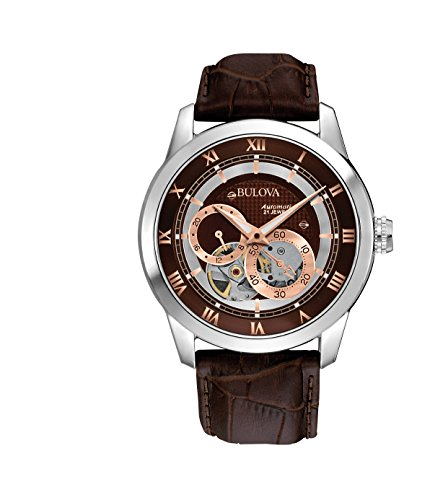 Bulova 96A120 Mens Brown Mechanical Watch