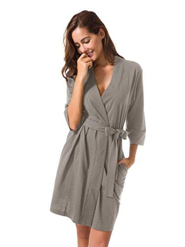 SIORO Robe for Women Plus Size Soft Cotton Knit Robes Lightweight Terry Bathrobe Ladies Pajamas Lounger Nightgown Short Dusk XL