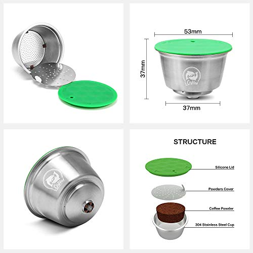 i Cafilas Stainless Steel Refillable Dolce Gusto Coffee Capsules Crema Reusable Coffee Pods Metal Permanent Coffee Holder Compatible for Nescafe Dolce Gusto with 1 tamper