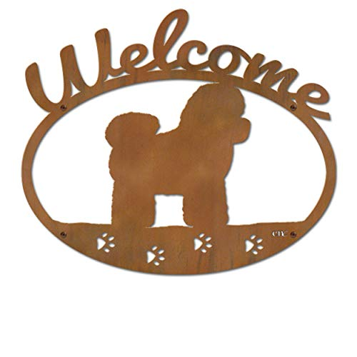 Cold Nose Creations 22in Bichons Frise Dog Breed Silhouette Metal Welcome Sign (Bichon Frise Sign Welcome)