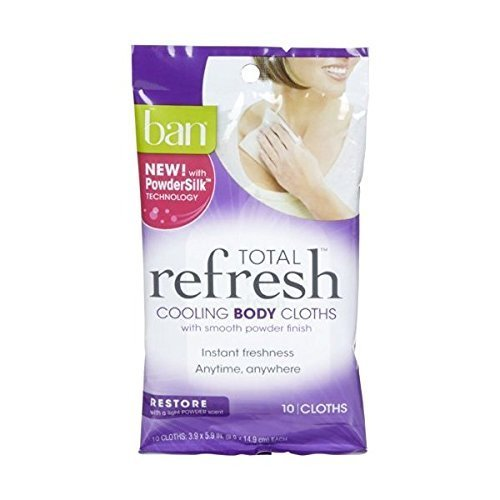 Ban, Total Refresh Cooling Body Cloths, Enliven, 10 Ct (Pack of - Ban 10