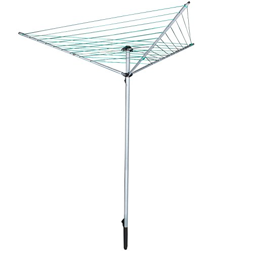 Jusdreen Essentials Collapsible 9-line Clothesline Drying Rack Umbrella Style Clothes Hanger Retractable Clothes Rotary Dryer with Parallel Line Hang Wet or Dry Laundry Silver - 98.42 (Clothes Dryer Clothesline)
