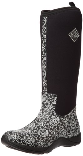 Muck Arctic Adventure Tall Rubber Women's Winter Boots, 8 M US, Black/Swirl Print