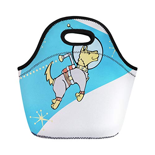 Semtomn Neoprene Lunch Tote Bag Astronaut Retro Space Dog Jet Pack Atomic Age Rocket Reusable Cooler Bags Insulated Thermal Picnic Handbag for Travel,School,Outdoors,Work]()