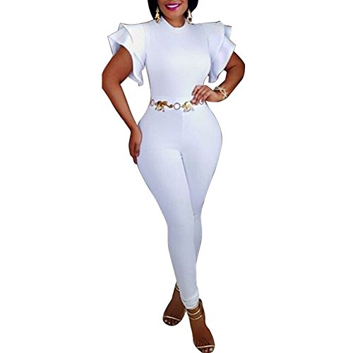 fdb9af06725 Fadvanes One Piece Bodycon Jumpsuit for Women Party Ruffle Sleeveless Solid  Long Romper Pants Outfit White M
