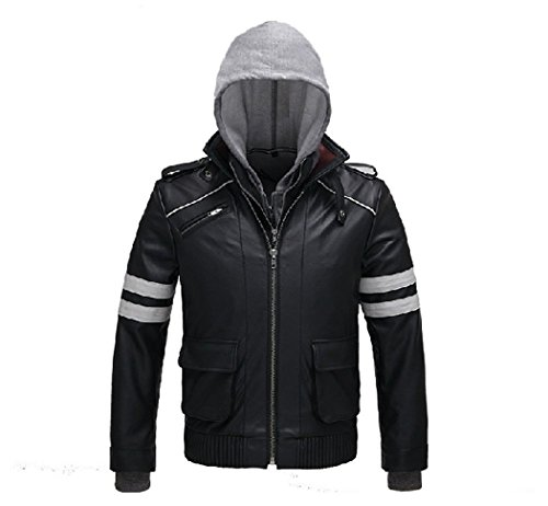 LYLAS Black Pu Leather Jacket with Hoodie Sweater for Holiday Gift (M, Jacket and sweater) (Prototype Alex Mercer Costume)