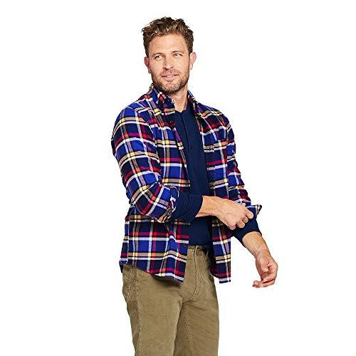 Plaid Multi Flannel - Lands' End Men's Traditional Fit Flagship Flannel Shirt, XL, Mazarine Blue Multi Plaid