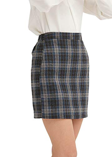 - GUANYY Women's Casual Plaid Skirt Bodycon Pencil Mini Skirt(Acid Blue,X-Large)