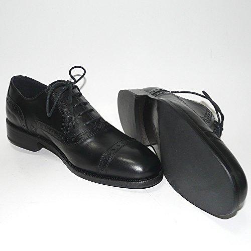 Worland Mod.1600/2 große Zahlen 100% Made in Italy - Herren Schuhe anziehen Leder (51, Schwarz)