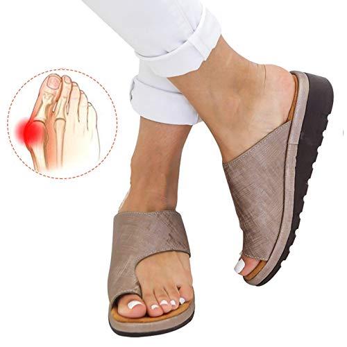 Chenghe Women's Flip Flop Wedge Sandal Comfort Open Toe Thong Slid Slippers Summer Beach Travel Sandal Shoes Khaki US 5.5