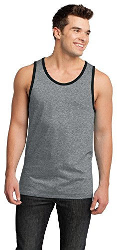 (District Young Mens Cotton Ringer Tank, Heathered Steel/Black, XXXX-Large)