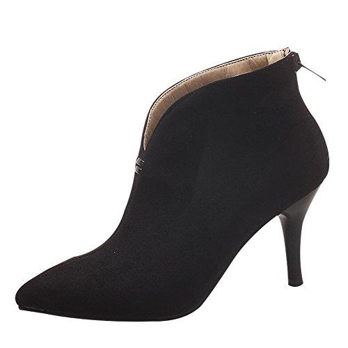 Carolbar Women's Chic Charm High Heel Pointed Toe Zip Short Dress Boots Black