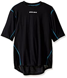 Bauer Boys Youth NG Core Short Sleeve Crew Base Layer Top, Black, Small