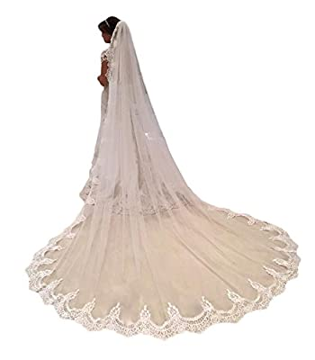 kelaixiang Women 1T Lace Edge Cathedral Length Long Bridal Wedding Bridal Veil with Comb