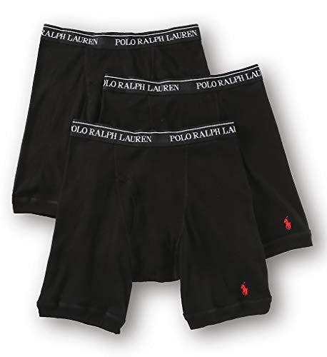 Polo Ralph Lauren Long Leg Boxer Briefs with Moisture Wicking, 100% Cotton - 3 Pack (L, Black)