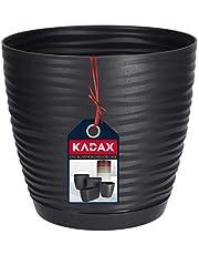 KADAX Bloempot met onderzetter, bloempot voor binnen, lichte plantenpot van kunststof, bloemenpot voor bloemen, planten, huis, kamer, plantenbak 13 cm antraciet