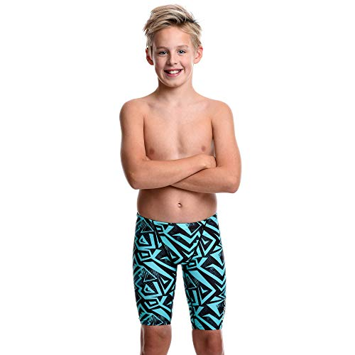 - Flow Funky Swim Jammers - Jammer Swimming Shorts in Boys Size 24 to 30 with Eight Radical Swimsuit Designs to Choose from (Waves 26)