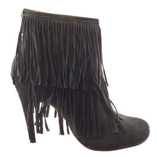 Sopily - Zapatillas de Moda Botines A medio muslo mujer fleco Talón Tacón de aguja alto 11 CM - Negro