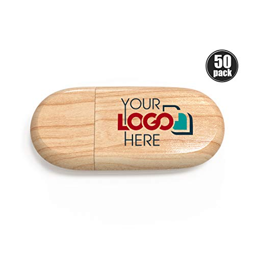 Custom Promotional Wood USB Flash Drive 128MB Personalized Jump Drive Printed or Engraved with Your Logo Bulk Wholesale, Maple 50 Pack