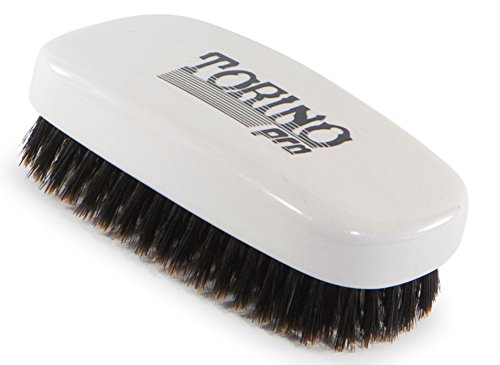 Torino Pro #110 100% Pure Boar Bristle Palm Soft Hair Brush - Handheld Military Squared Design - Naturally Moisturize, Condition, Reduce Frizz,Promote Circulation of Hair Roots- Great 360 Wave Brush