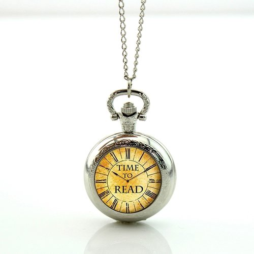 So Many Books So Little Time Watchメモリロケットネックレスアンティークポケット時計ネックレス B072BGXK2W