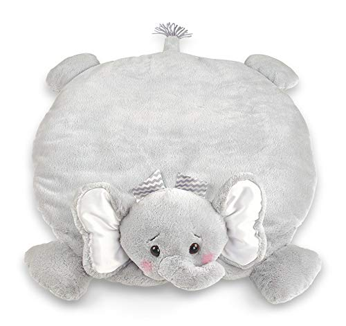 Bearington Baby Lil Spout Belly Blanket, Gray Elephant Plush Stuffed Animal Tummy Time Play Mat
