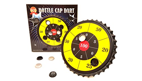 Drinking Darts ('Barwench Games' Bottle Cap Darts Party Game, Bottle Cap Magnetic Dart Board (YELLOW))