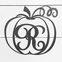 "12"" Monogram Metal Pumpkin Fall Door Hanger or Wall Decor"