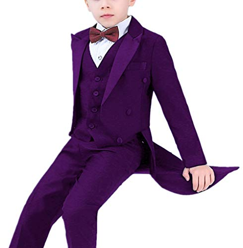 Suxiaoxi Boys Vintage Tailcoat Flower Boys Suits Piano Performance Costume Purple