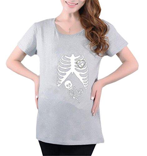 Maternity FONLONLON Corta T Stampate Moda Maglietta Rotondo Donna Casual Grey8 Manica Camicetta Incinta Bluse Collo Shirt Premaman Top g551q