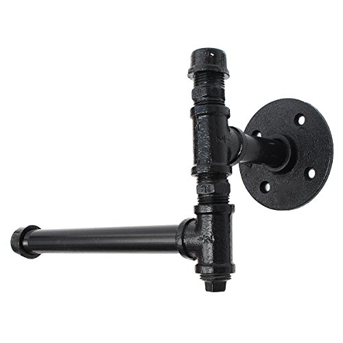 - 220mm Industrial Iron Pipe Tissue Holder Rustic Wall Mount Black Toilet Paper Roll Holder - Tools, Industrial & Scientific Hardware & Accessories - 1 x Iron Pipe Tissue Holder