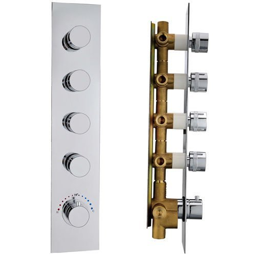 JiaYouJia 8.1 KG Brass 4 Functional Thermostatic Trim With Volume Control And Diverter, Chrome by JiaYouJia