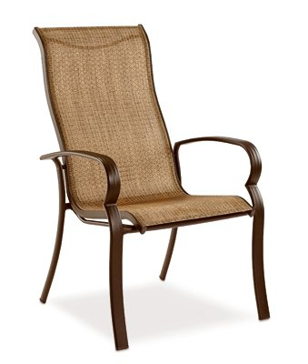 0K01 Bellevue Patio Collection Sling Dining Chair, Espresso Textile, Aluminum Frame, Mu - Quantity 4 ()