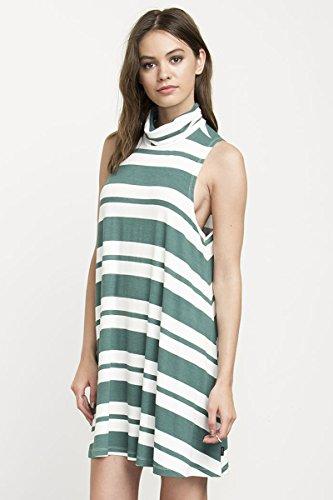 RVCA Junior's Alias Turtleneck Stripe Swing Dress, Green ...