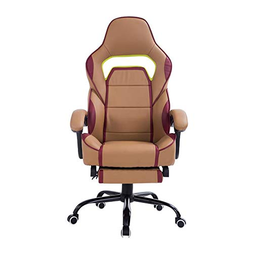 Sexykey KY Ergonomically Designed Computer Chair Game Chair, Racing Chair Lift Rotating with Footrests for Reclining People,Brass