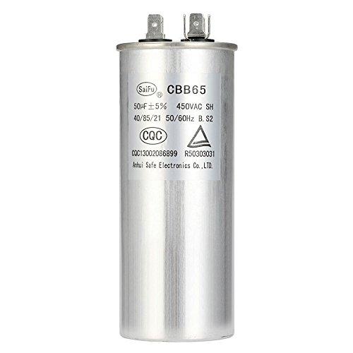 Air Capacitor Standard - CBB65 Standard 50 MFD uF Round Aluminum Electrolytic Capacitor Air Conditioner Capacitor Motor Run Capacitor Withstand 450V AC for Fast Electric Repairing