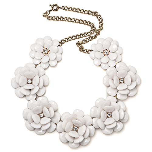 LovelyJewelry Fashion White Flower Statement Necklaces Golden Chain Chunky Bubble Pendant For]()