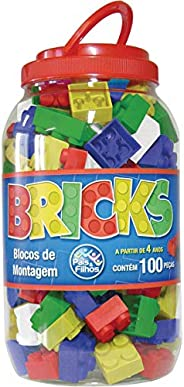 Pais & Filhos Brinquedo para Montar Bricks Blocos Montagem 100 P