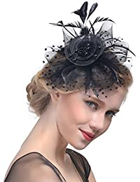 Penny Mesh Hat Fascinator with Mesh Ribbons and Black...
