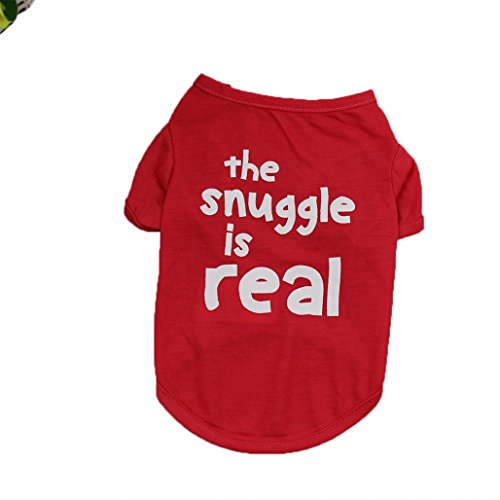 vmree Dog Apparel, Small Dog T Shirt Clothing Puppy Polyester Tops (Red, S)