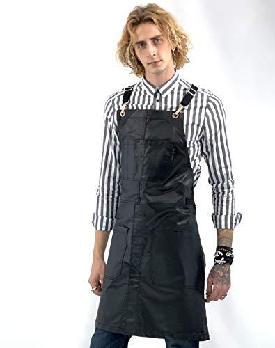 Under NY Sky Cross-Back Black Apron - Golden Hardware, Coated Denim, Leather Reinforcement, Split-Leg - Adjustable for Men, Women, Pro Barber, Tattoo, Hair Stylist, Barista, Bartender, Server Aprons