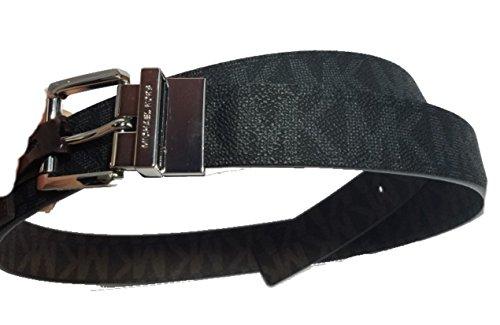 Michael Kors Logo Reversible Belt With Silver Buckle,Black/Brown,Large ()