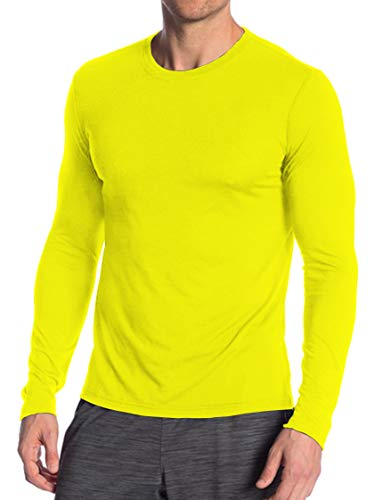 Miracle(Tm) Wicking Athletic Underscrub Tshirt for Mens - Adult Neon Sport Running Fitness Long Sleeves Yellow Shirt (XS) (Volleyball Yellow T-shirt)